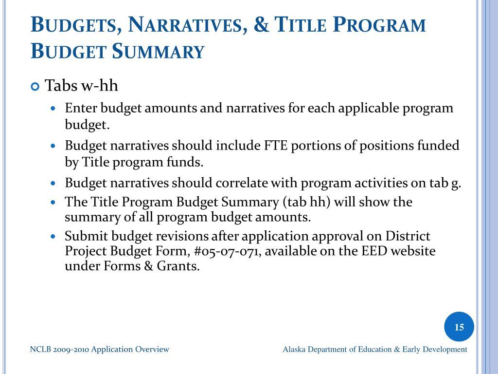 Budgets, Narratives, & Title Program Budget Summary