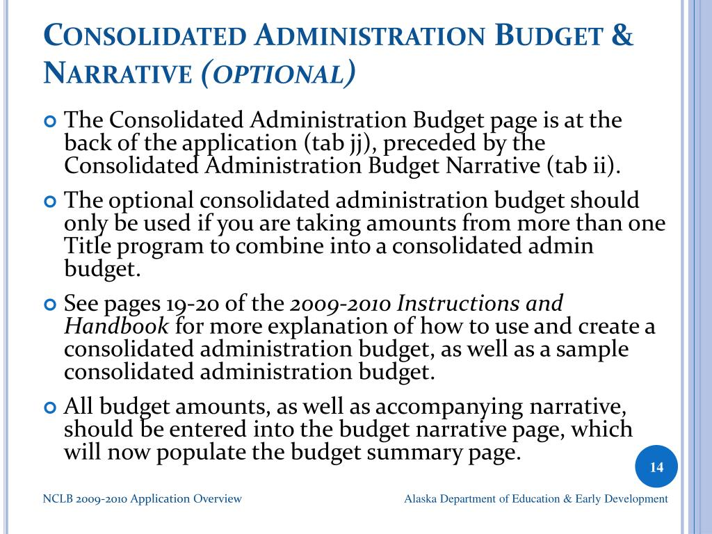 Consolidated Administration Budget & Narrative
