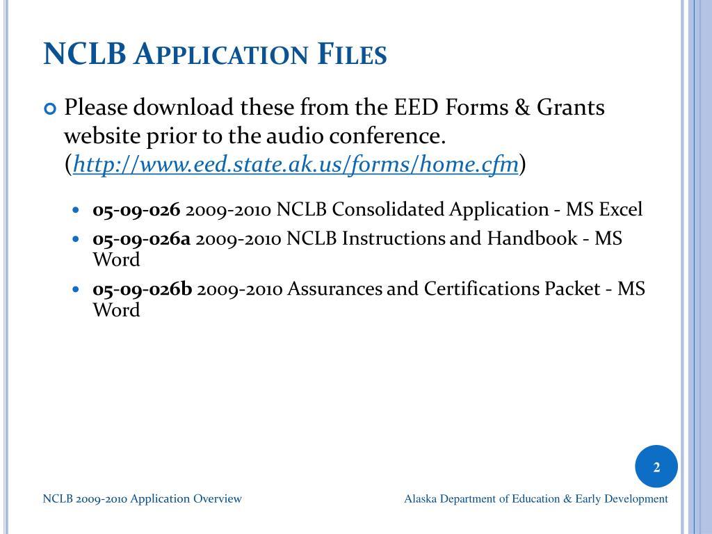 NCLB Application Files