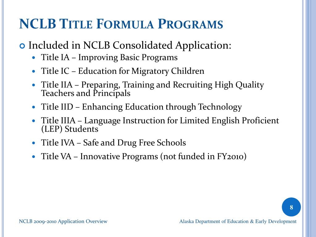 NCLB Title Formula Programs