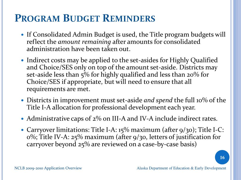 Program Budget Reminders