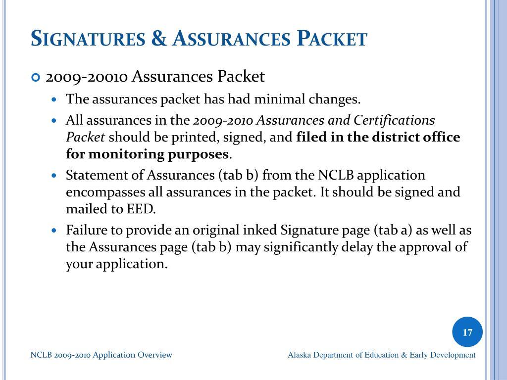 Signatures & Assurances Packet