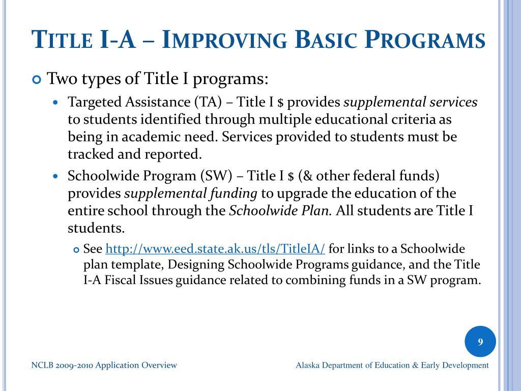 Title I-A – Improving Basic Programs