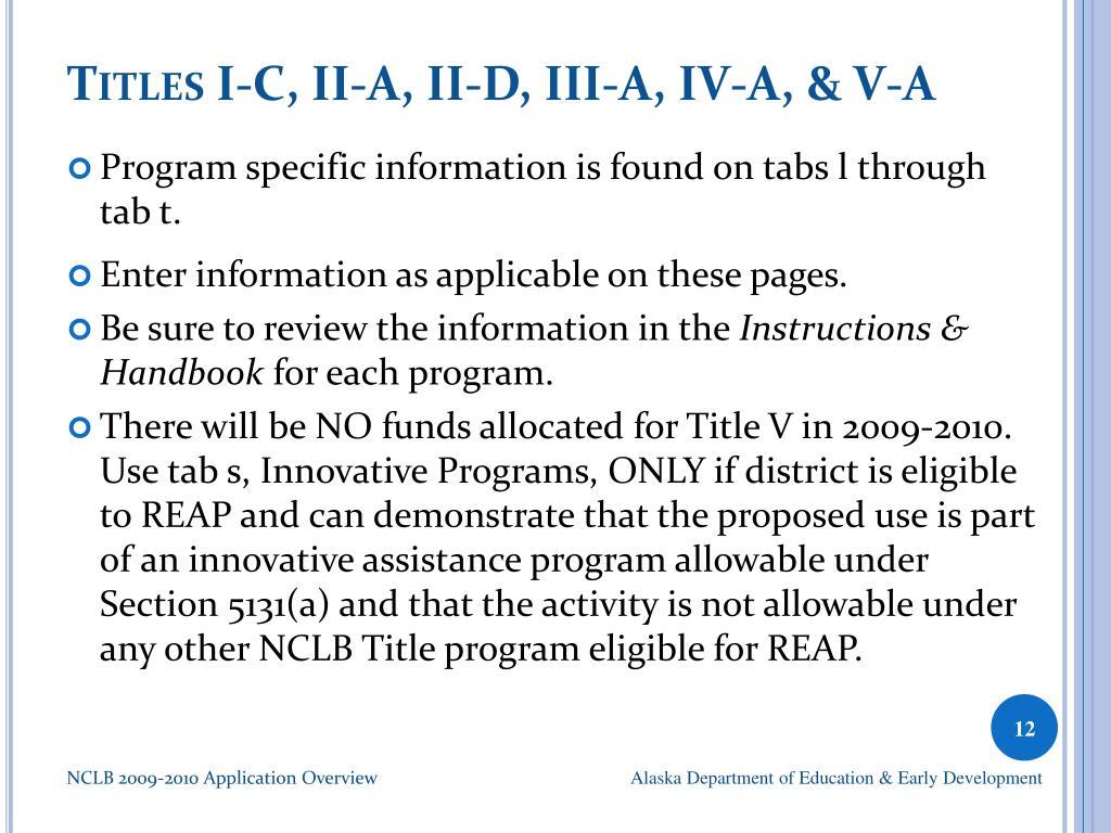 Titles I-C, II-A, II-D, III-A, IV-A, & V-A