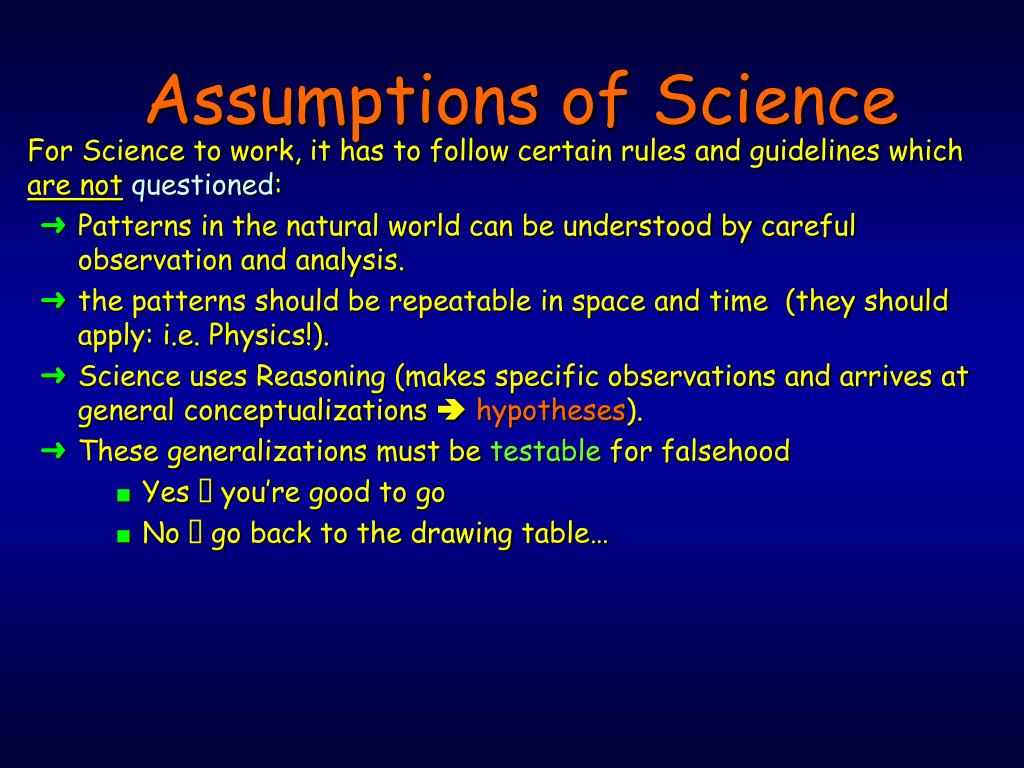 Assumptions of Science