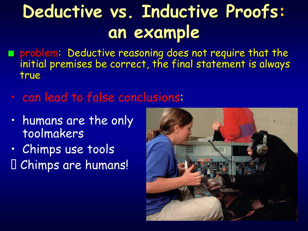 Deductive vs. Inductive Proofs