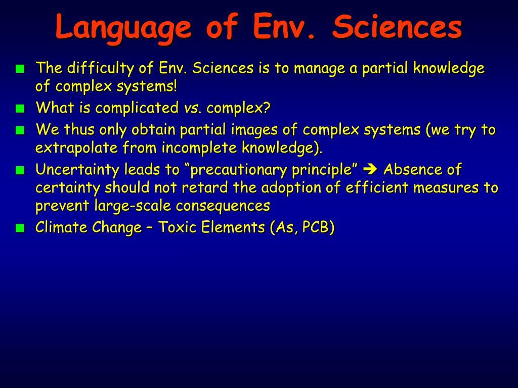 Language of Env. Sciences