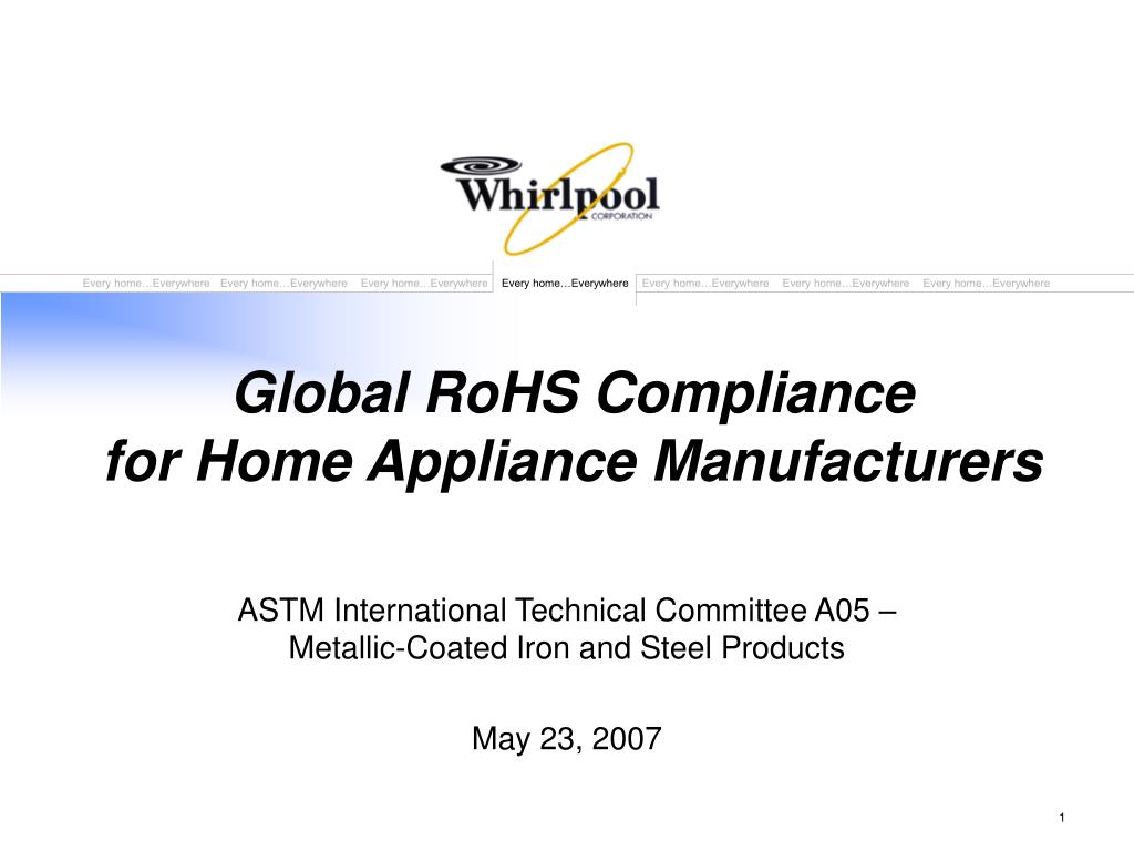 global rohs compliance for home appliance manufacturers