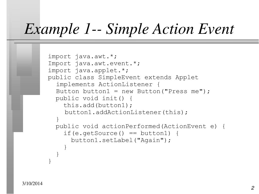 Example 1-- Simple Action Event