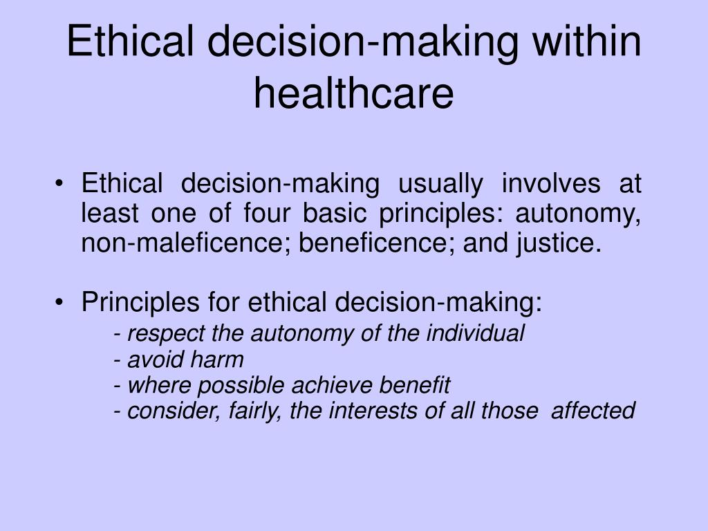 Ethical decision-making within healthcare
