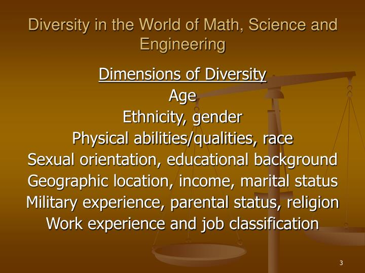 Diversity in the world of math science and engineering3