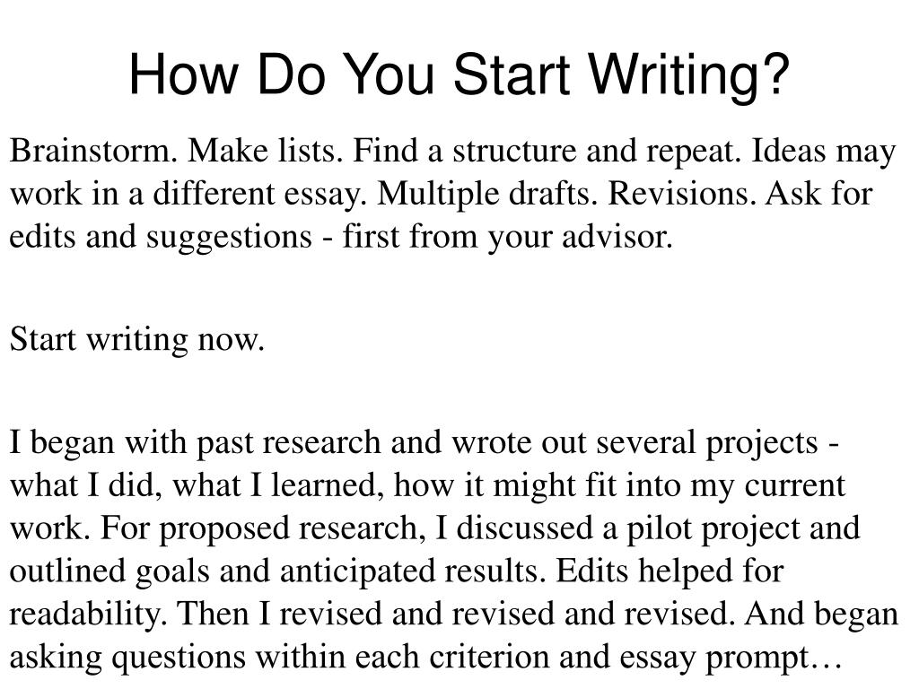 How Do You Start Writing?
