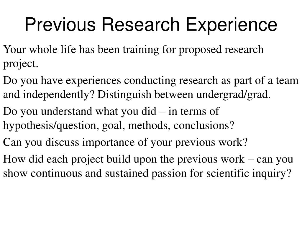 Previous Research Experience