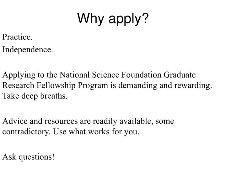 Why apply