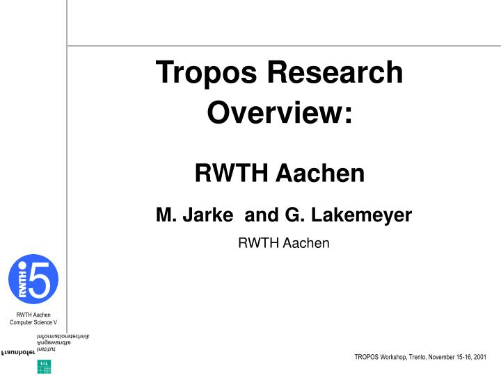 Tropos Research Overview: