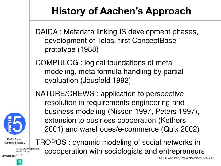 History of Aachen's Approach
