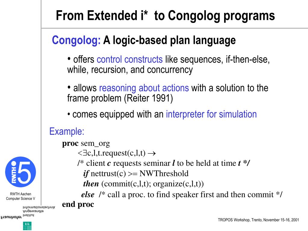 From Extended i*  to Congolog programs