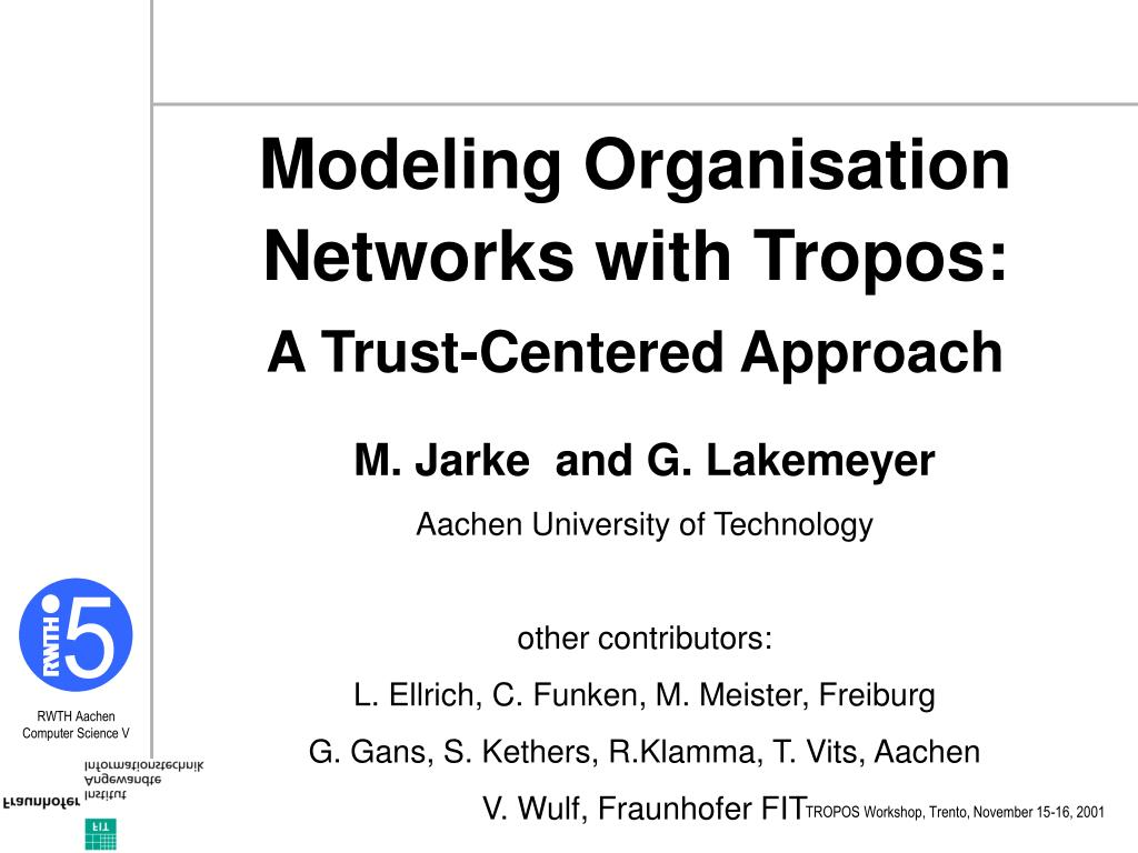 Modeling Organisation Networks with Tropos: