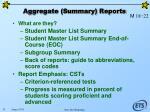 aggregate summary reports