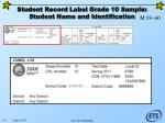 student record label grade 10 sample student name and identification