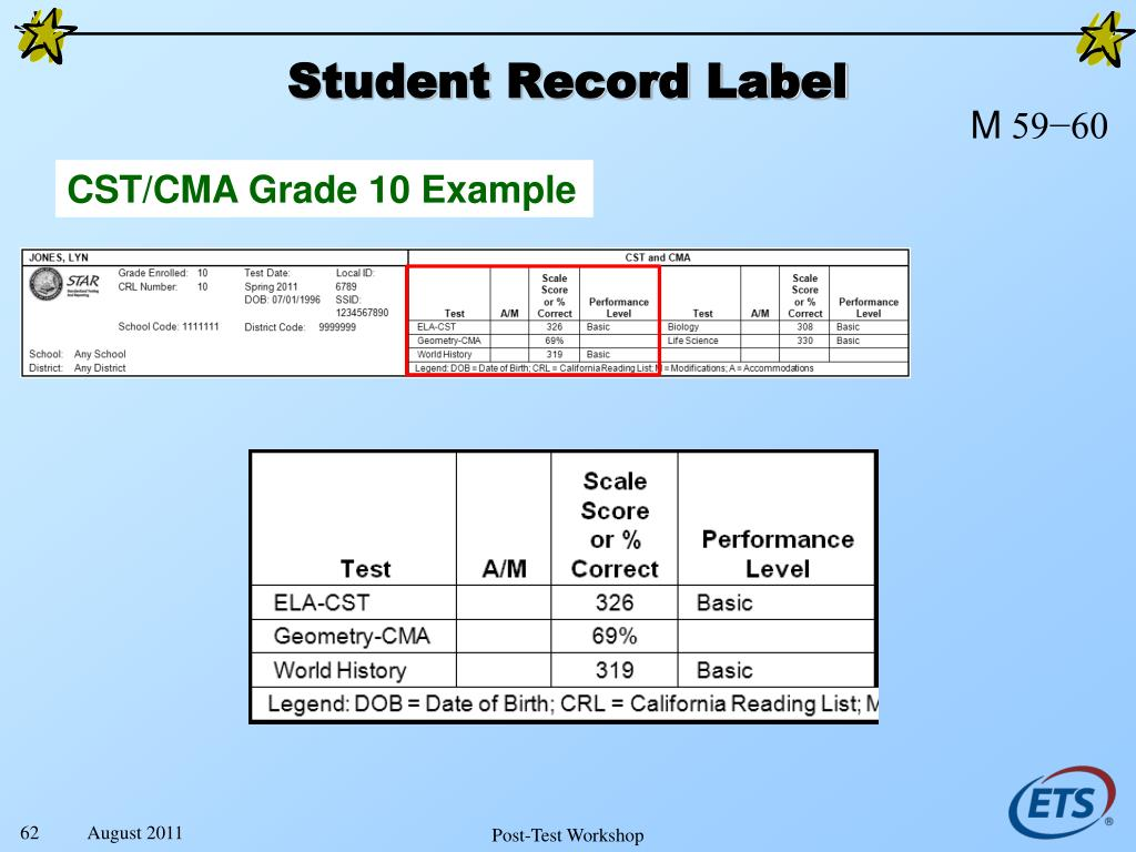Student Record Label