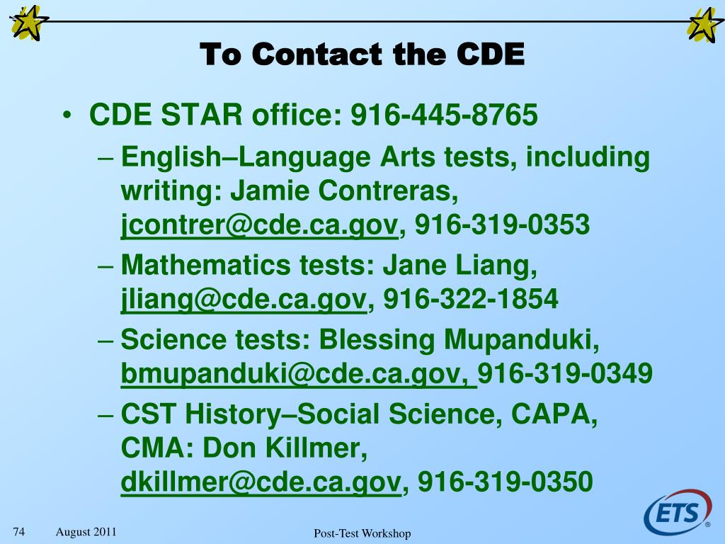 To Contact the CDE