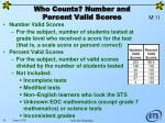 who counts number and percent valid scores