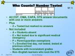 who counts number tested