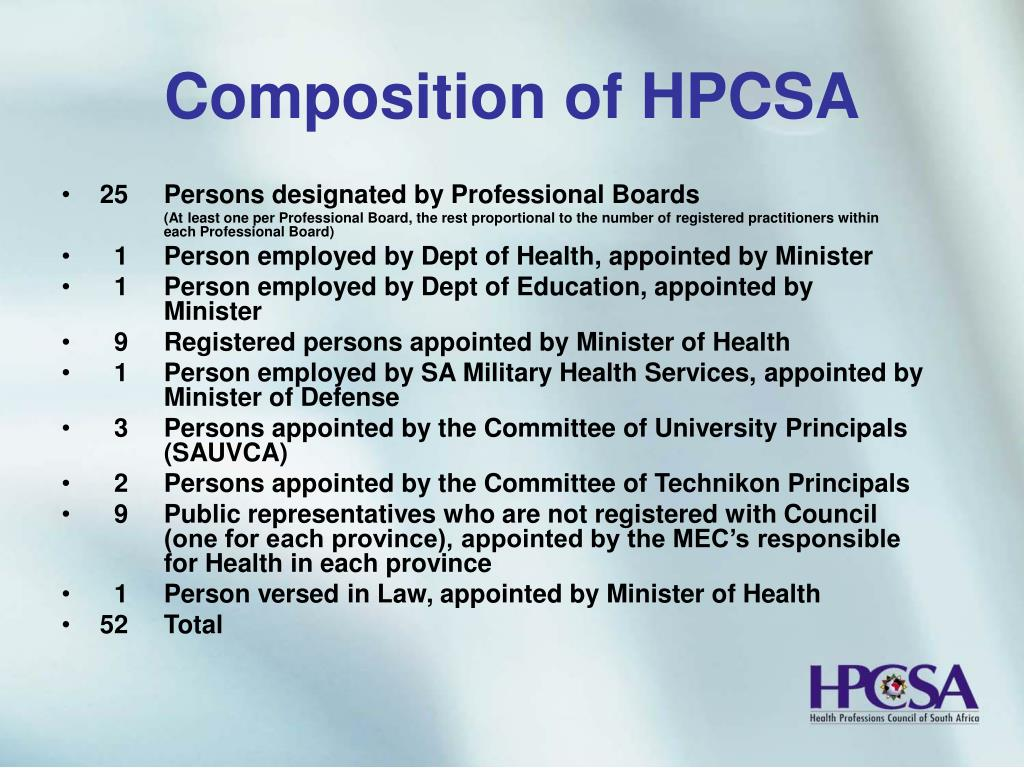 Composition of HPCSA