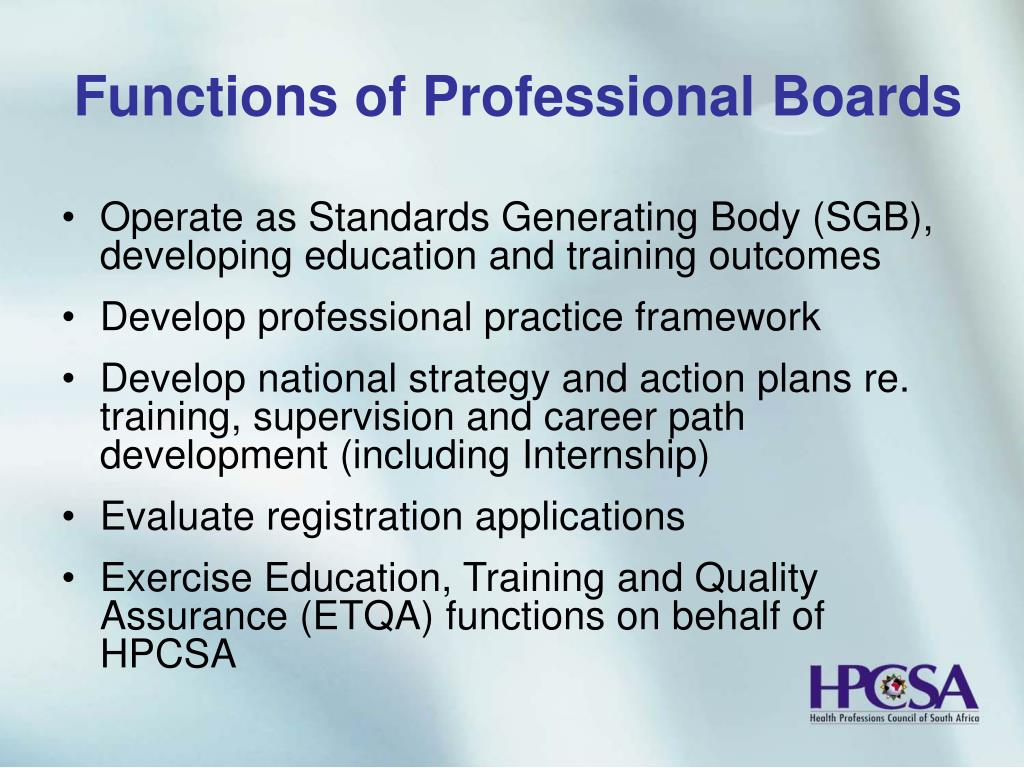 Functions of Professional Boards