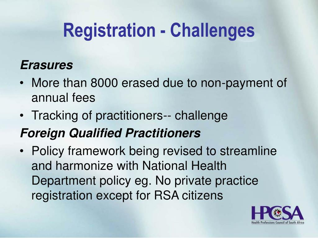 Registration - Challenges