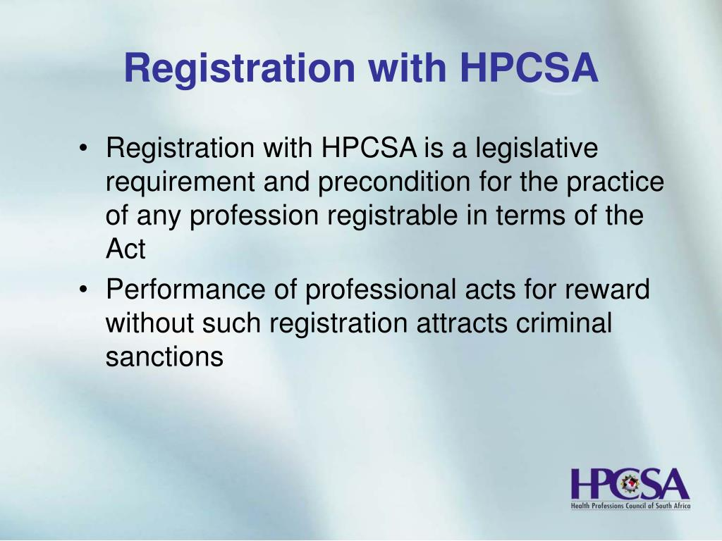 Registration with HPCSA