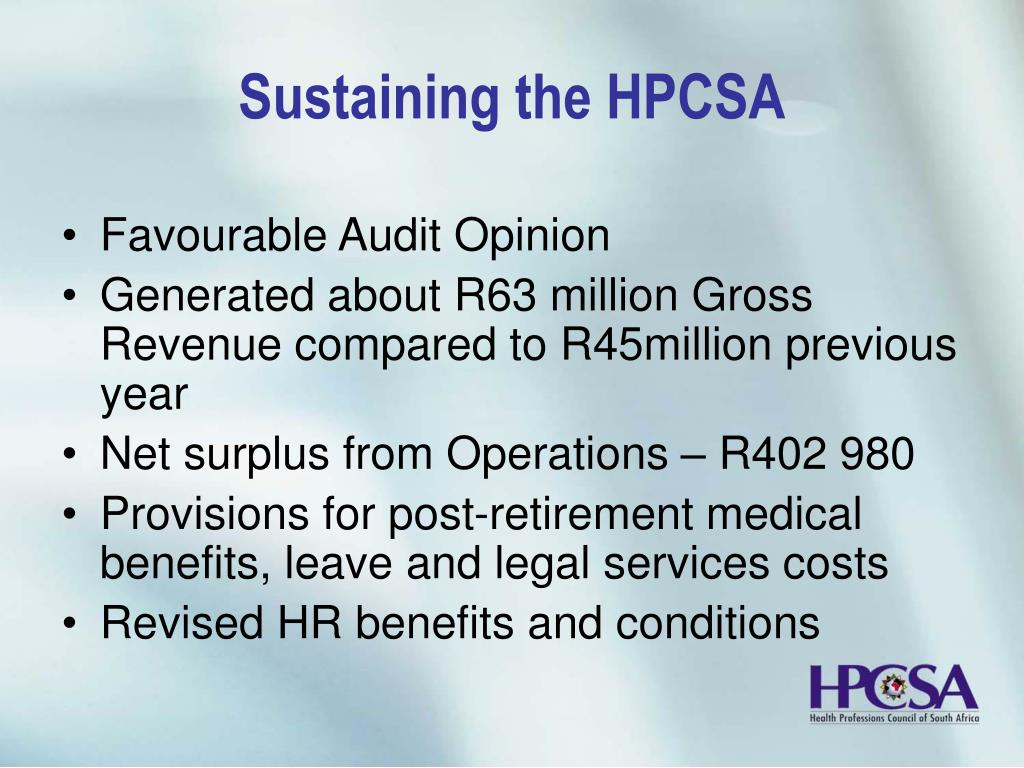Sustaining the HPCSA