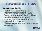 transformation hpcsa