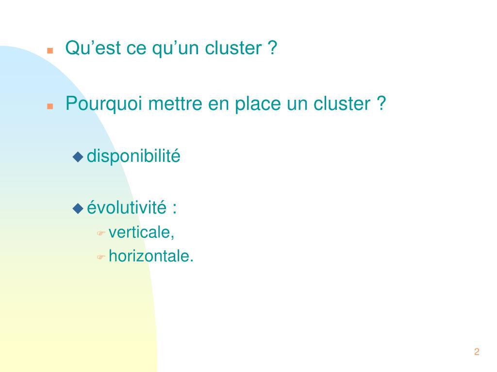 Qu'est ce qu'un cluster ?