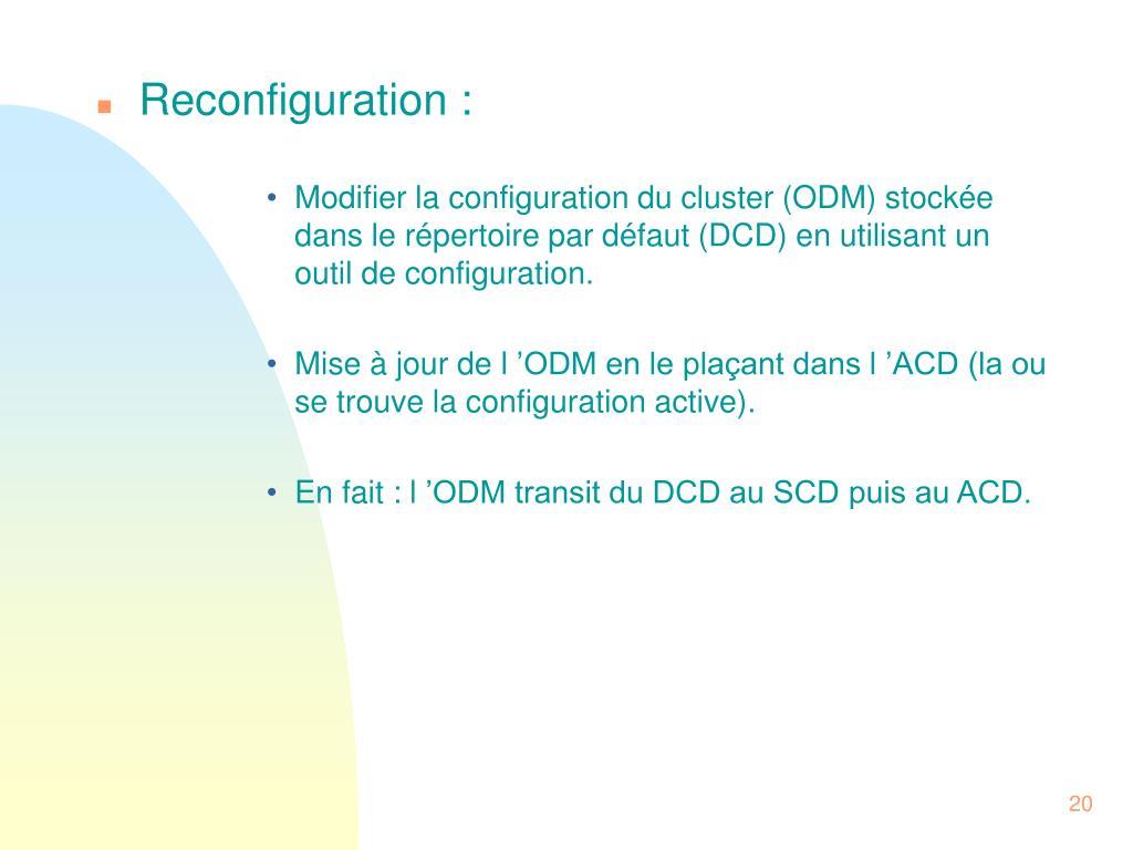 Reconfiguration :