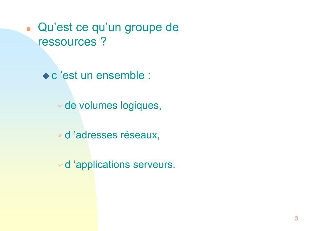 Qu'est ce qu'un groupe de ressources ?