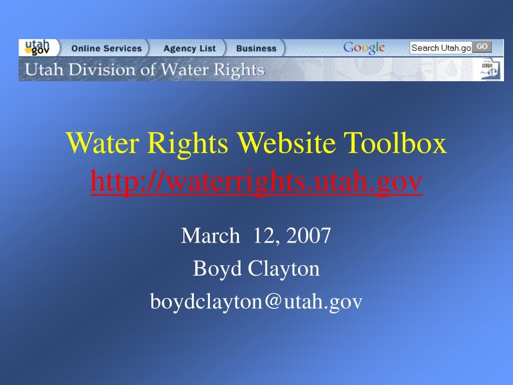 water rights website toolbox http waterrights utah gov
