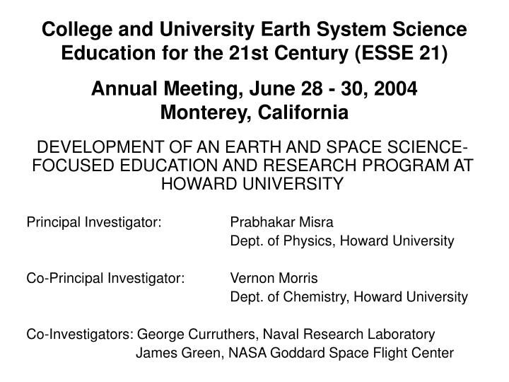 College and university earth system science education for the 21st century esse 21