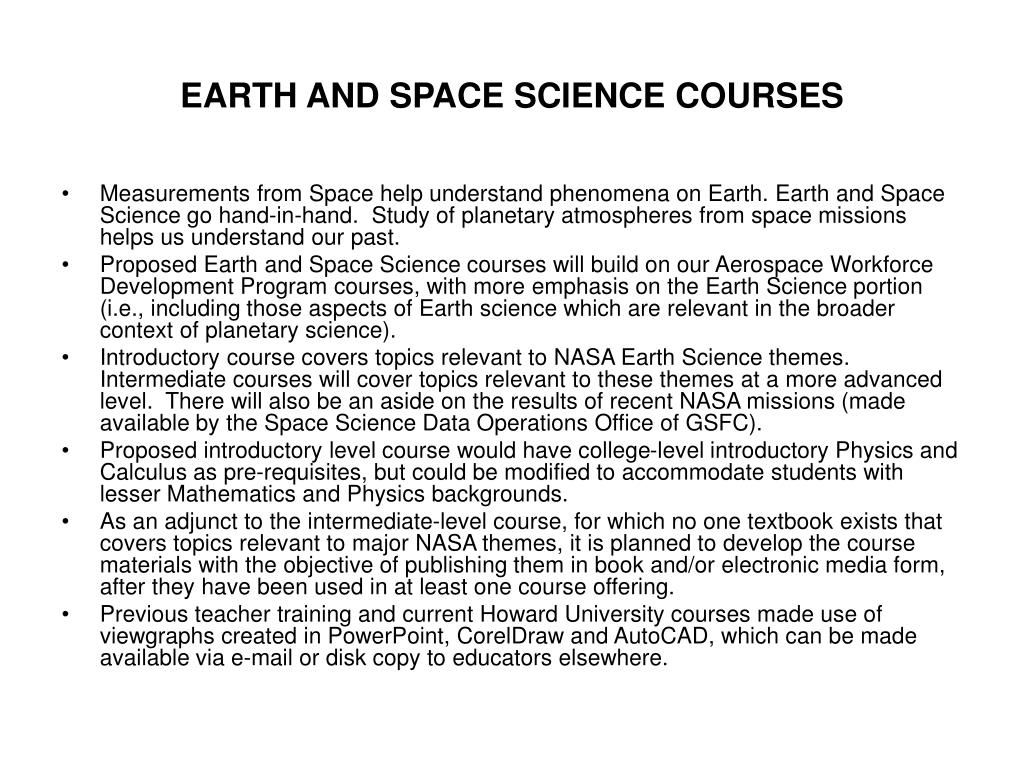 EARTH AND SPACE SCIENCE COURSES