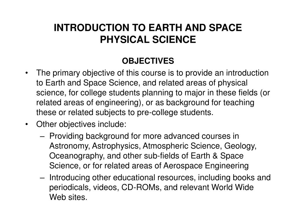 INTRODUCTION TO EARTH AND SPACE