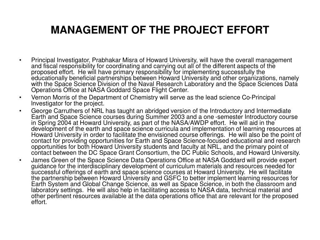MANAGEMENT OF THE PROJECT EFFORT