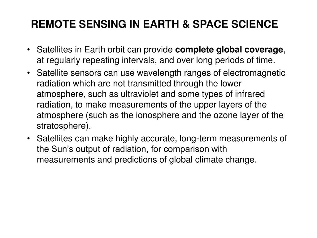 REMOTE SENSING IN EARTH & SPACE SCIENCE
