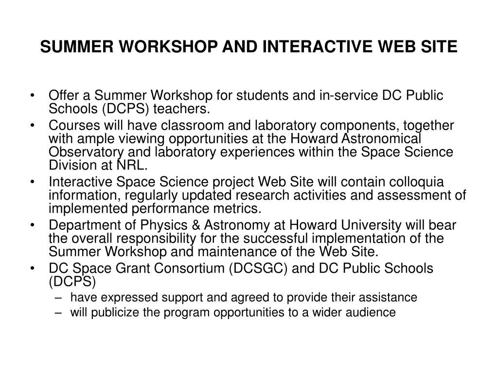 SUMMER WORKSHOP AND INTERACTIVE WEB SITE