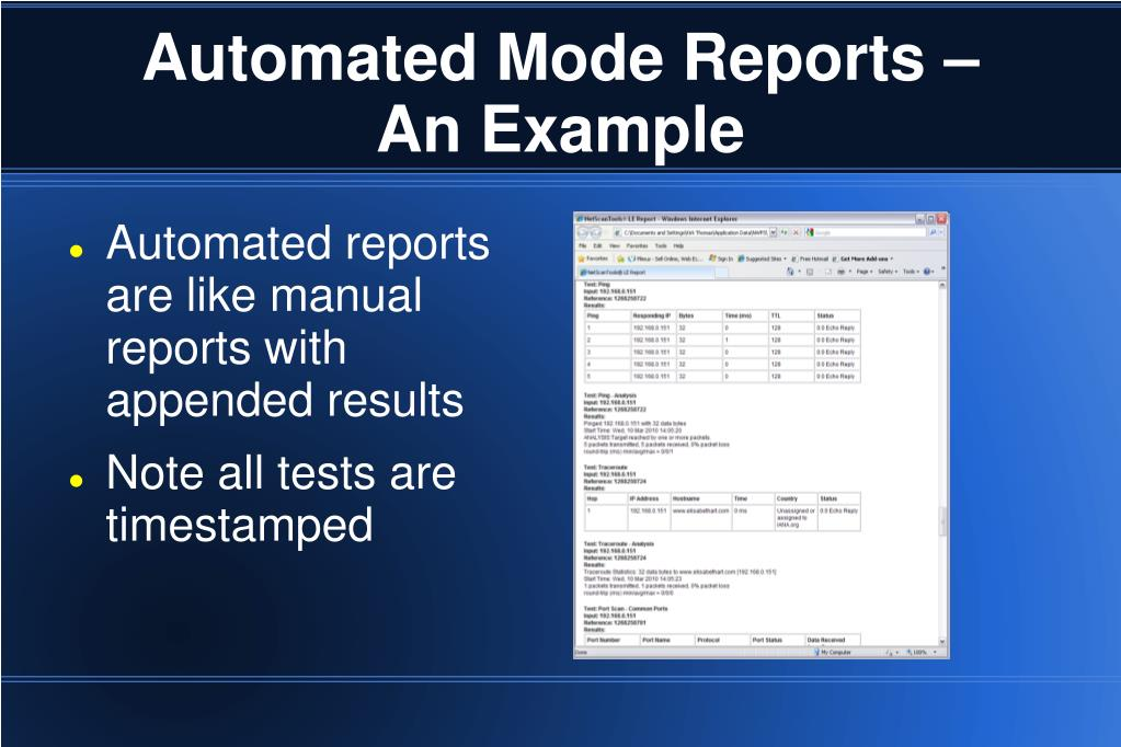 Automated Mode Reports –