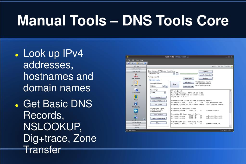 Manual Tools – DNS Tools Core