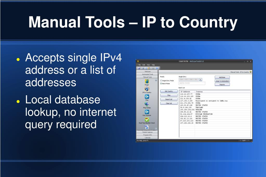 Manual Tools – IP to Country