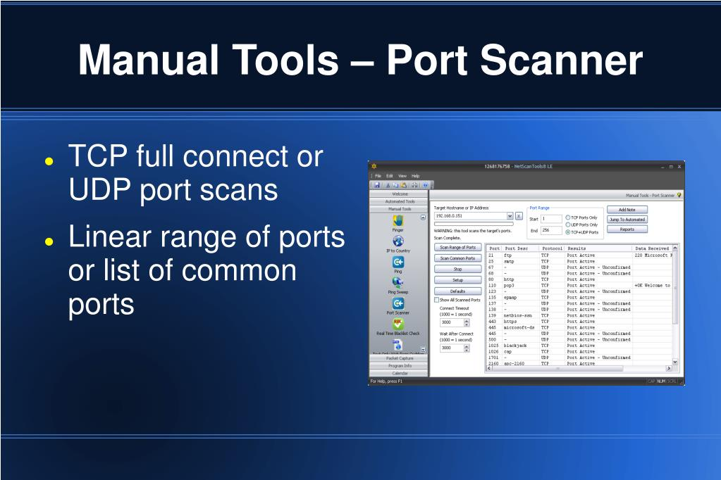 Manual Tools – Port Scanner