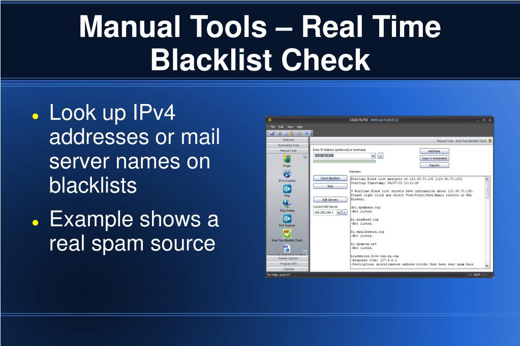 Manual Tools – Real Time Blacklist Check