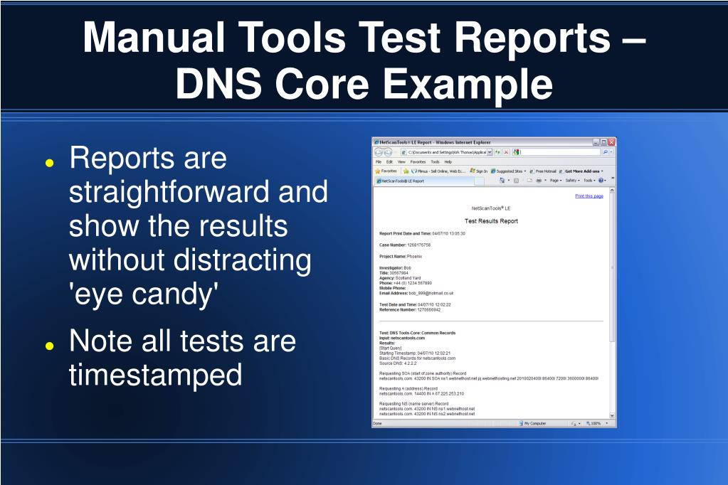 Manual Tools Test Reports – DNS Core Example